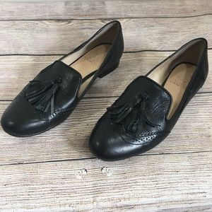 Vince Camuto Black Leather Loafers w Tassels Sz 8